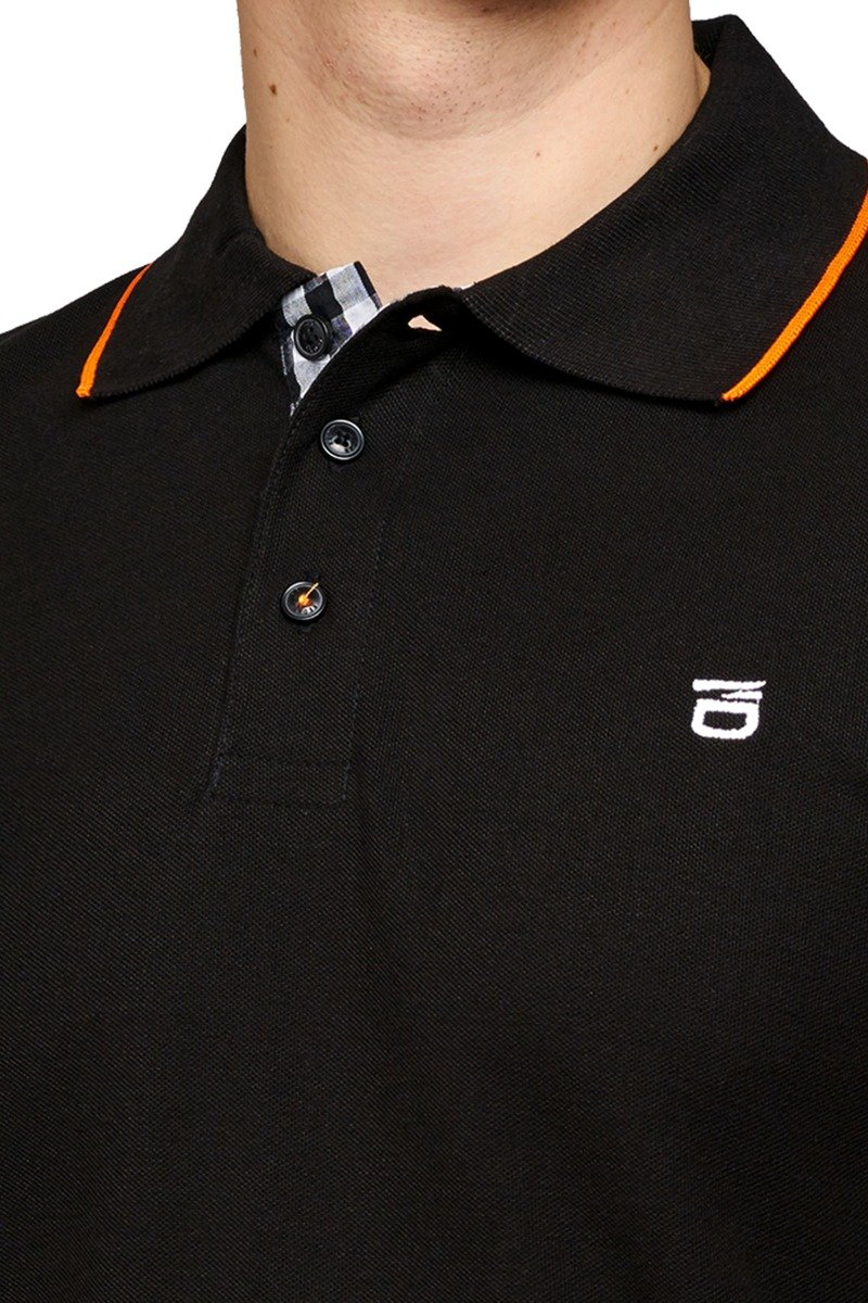 KEDAR CONTRAST TIPPED BLACK POLO SHIRT WITH LOGO ON CHEST